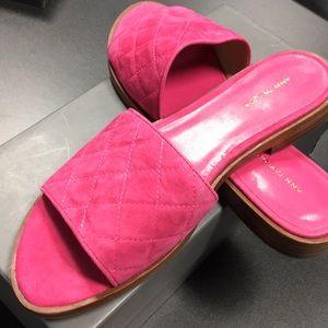 Suede quilted slides/ flip flops Ann Taylor